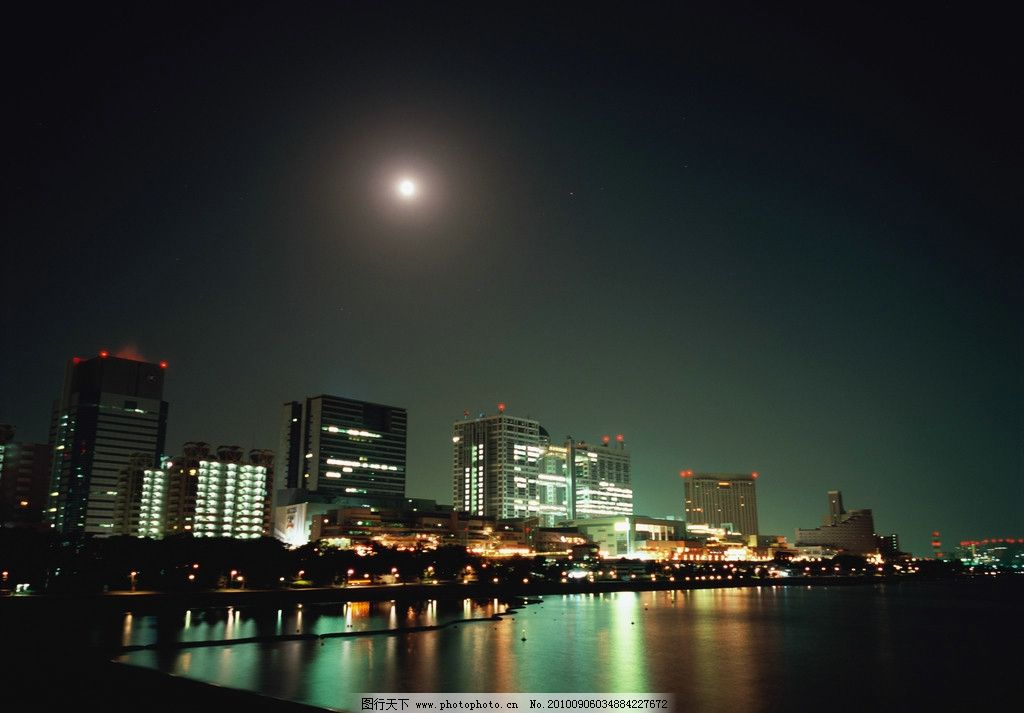 城市夜景 城市 夜景 月光 月亮 夜空 高楼 大厦 灯火 江边 江水 阳光