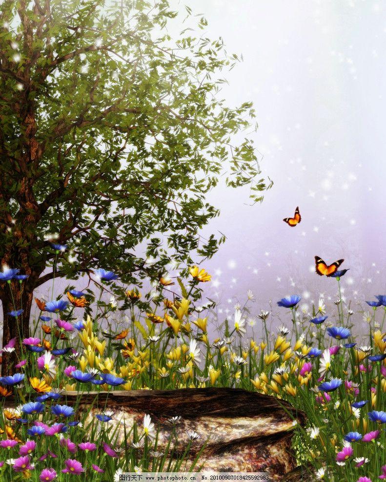 浪漫背景 蝴蝶 花朵 大树图片_风景漫画_动漫卡通_图