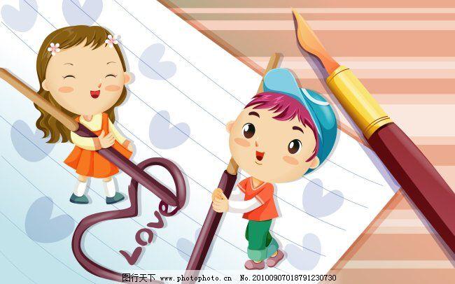 小朋友和笔 卡通背景 卡通动物 卡通儿童 卡通房子 卡通色图 卡通图片