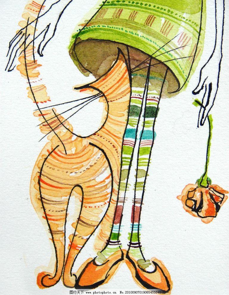 女孩和猫 水彩 小女孩 人物 猫 涂鸦 可爱 水彩画 水粉 色粉画 彩画 油彩画 油彩 油画 油画静物 装饰画 设计 绘画主题 绘画书法 文化艺术 300DPI JPG