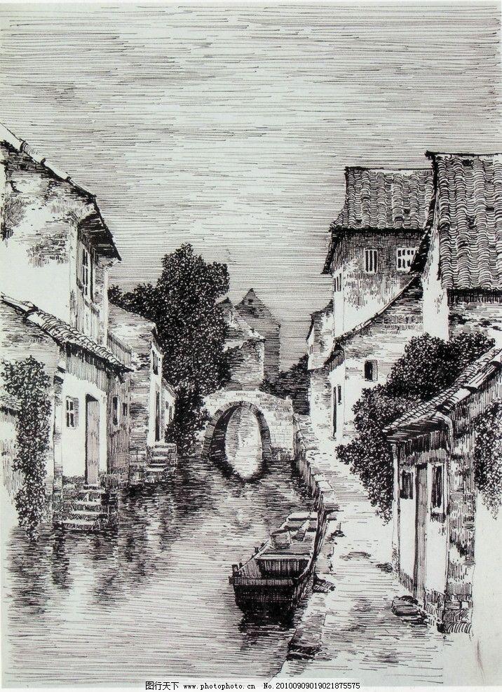 线条 风景画 黑白画 线稿 线描 中国画 树 树木 木屋 草屋 房子 溪水