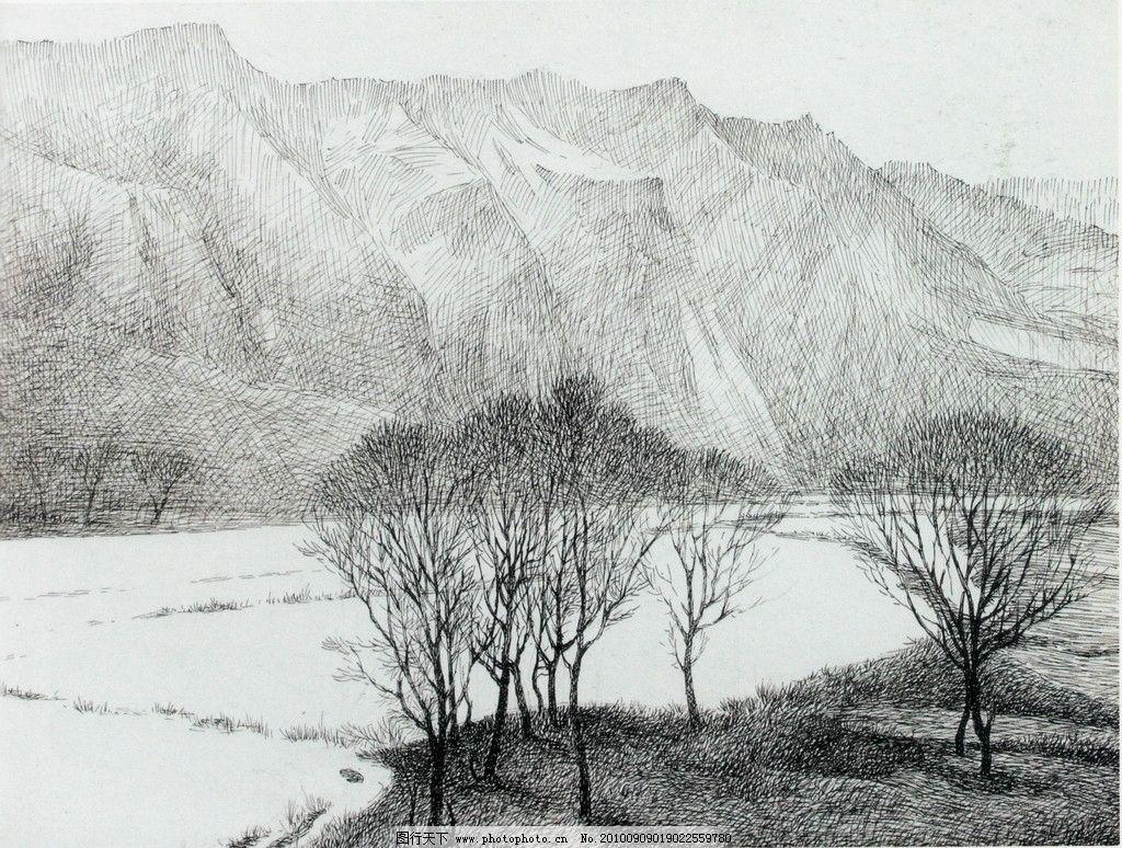 塞北雪 钢笔画 线条 风景画 黑白画 线稿 线描 中国画 树 树木 雪