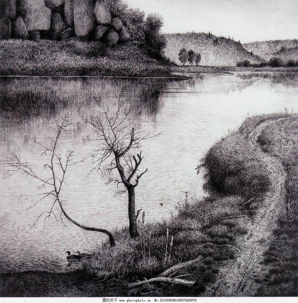 中国画线描风景