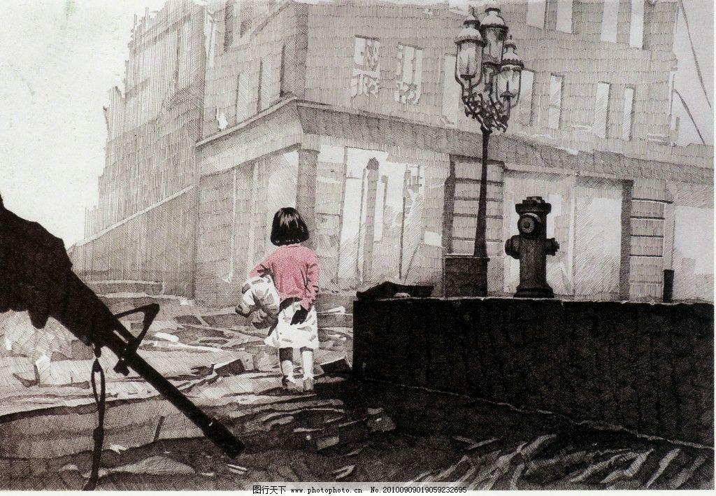 家园 钢笔画 线条 风景画 黑白画 线稿 线描 中国画 小孩 孩子 枪