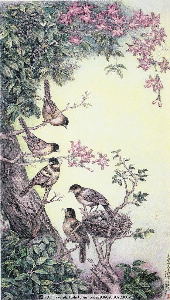 小鸟 钢笔画 线条 风景画 黑白画 线稿 线描 中国画 鸟 花 树 绘画