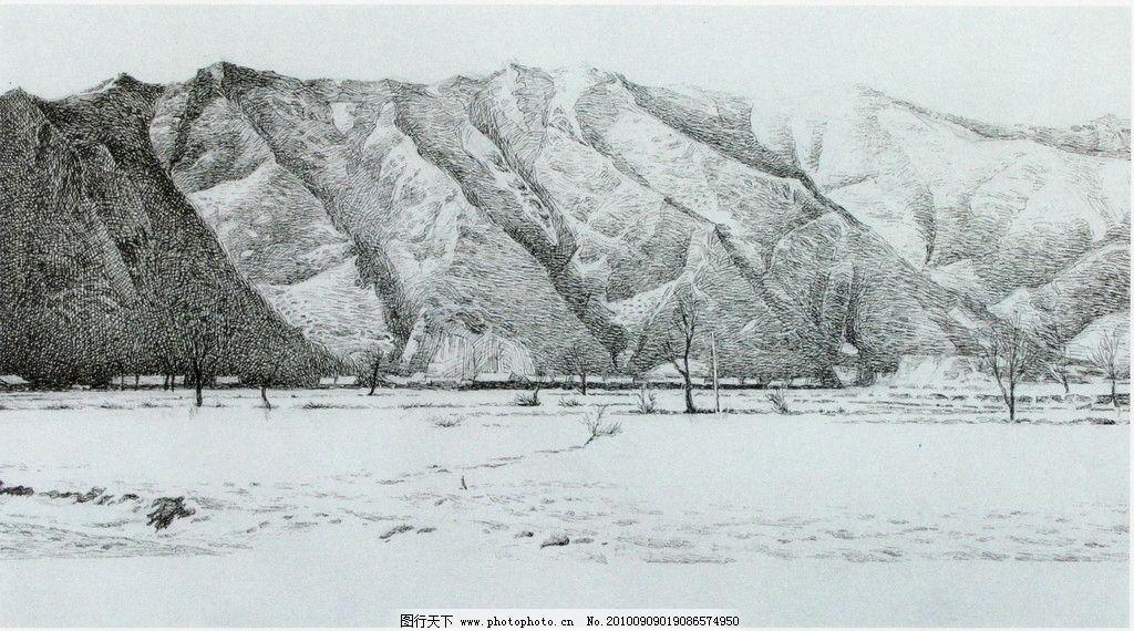 塞北雪 钢笔画 线条 风景画 黑白画 线稿 线描 中国画 树 树木 山山峰