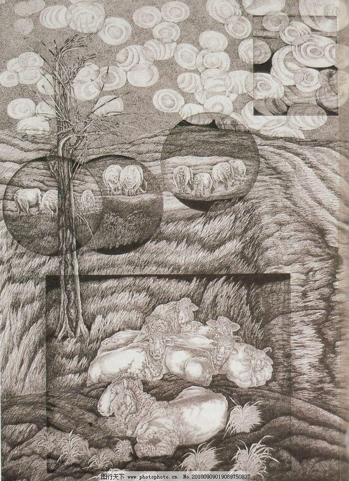 钢笔画 线条 风景画 黑白画 线稿 线描 中国画 树 树木 羊 山羊 绘画图片