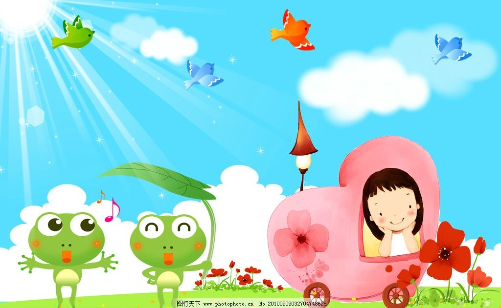 卡通 幼儿园壁画 娃娃 卡通娃娃 白云 花 小女孩 房子 小鸟 可爱的