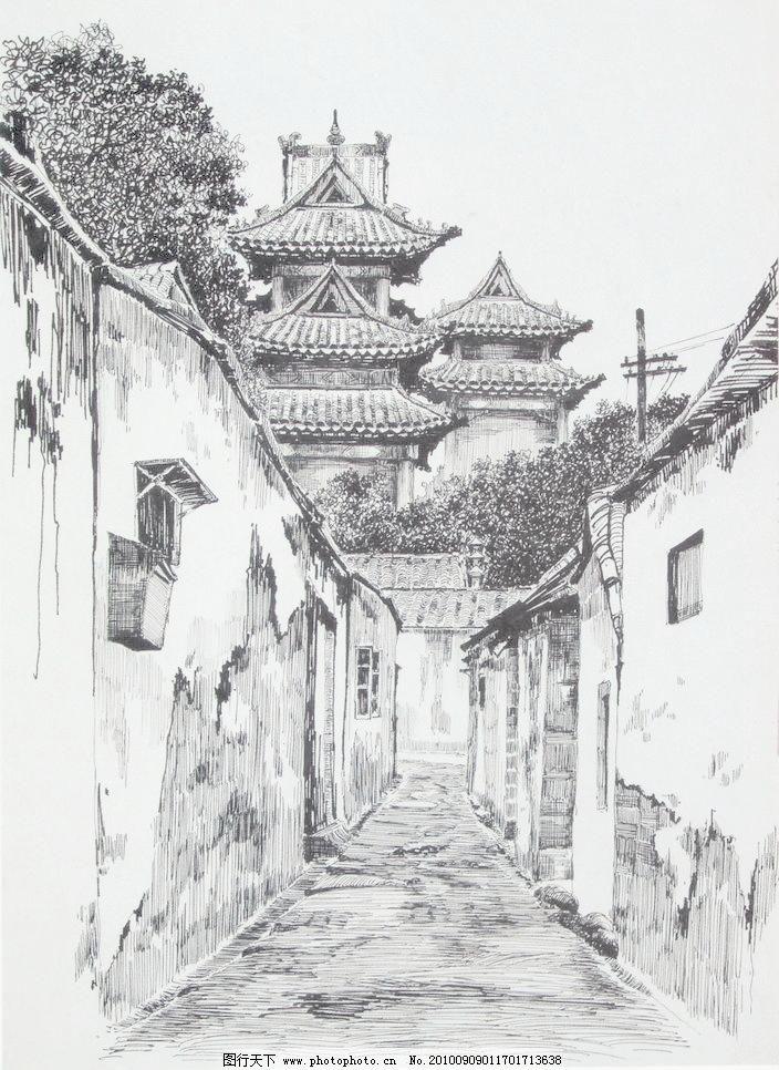 线条 风景画 黑白画 线稿 线描 中国画 树 树木 木屋 草屋 房子 围墙