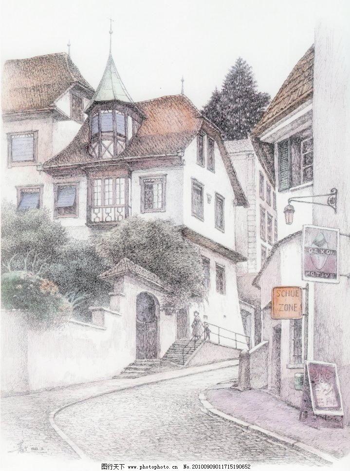 线条 风景画 黑白画 线稿 线描 中国画 树 树木 木屋 草屋 房子 瑞士