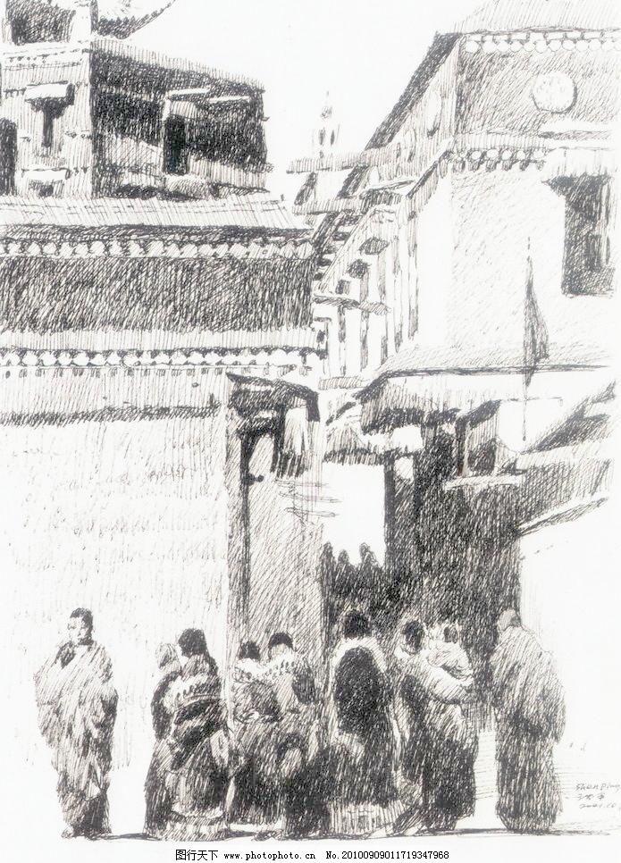 节日 钢笔画 线条 风景画 黑白画 线稿 线描 中国画 人物 人 房子