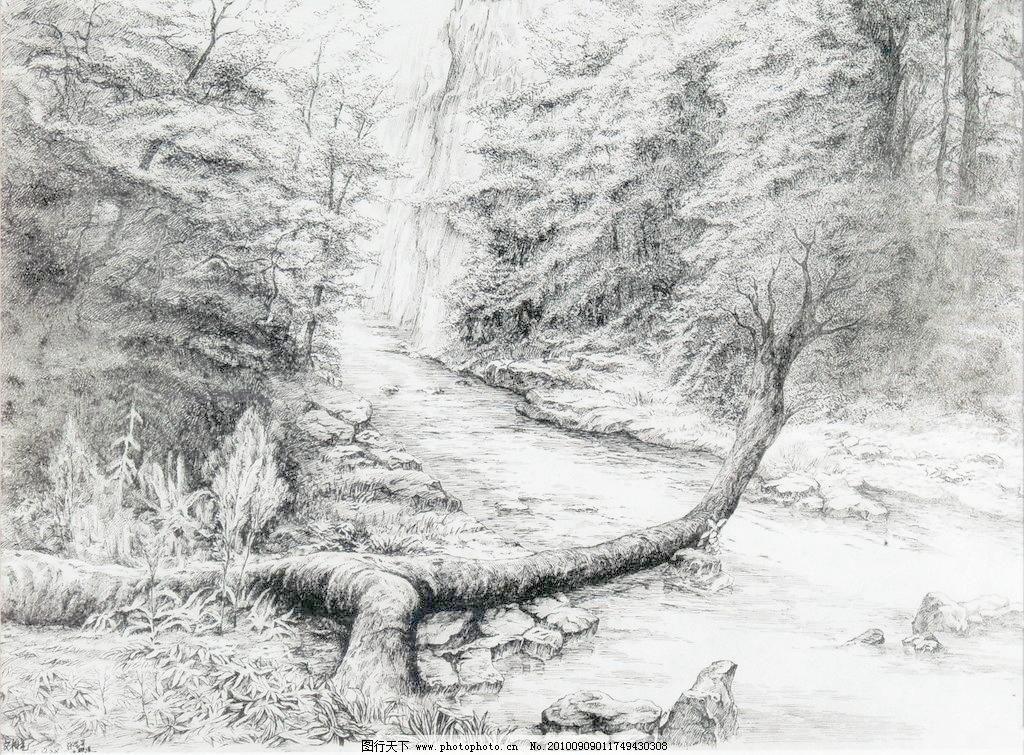 张家界金鞭溪模板下载 张家界金鞭溪 钢笔画 线条 风景画 黑白画 线稿
