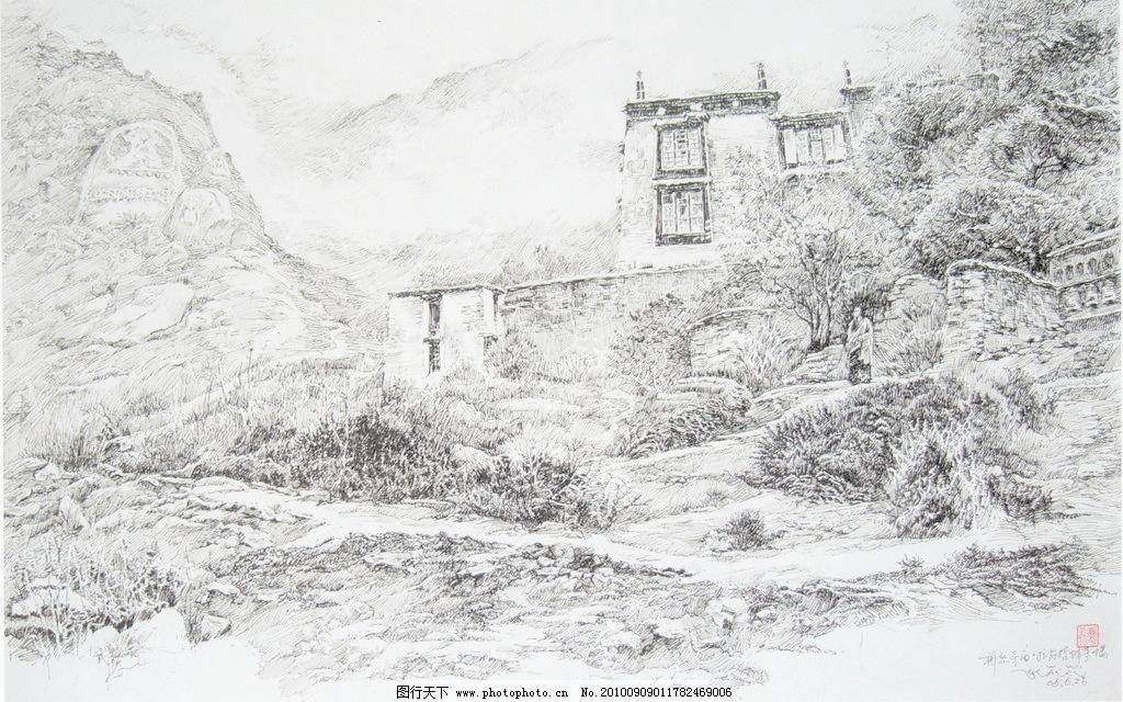 PG 风景画 钢笔画 黑白画 绘画书法 设计 树 树木 寺庙 寺庙设计素材