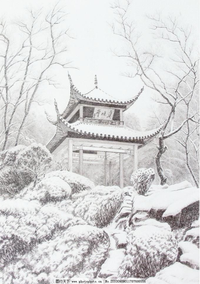 爱晚亭 钢笔画 线条 风景画 黑白画 线稿 线描 中国画 树 树木 亭子
