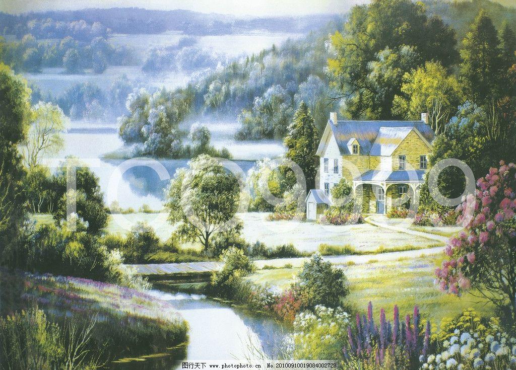 油画 手绘油画 田园风景(40x30厘米) 田园风景 石屋 茅屋 小屋 烟囱