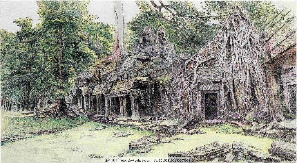 吴哥窟 钢笔画 线条 风景画 黑白画 线稿 线描 中国画 树 树木 柬埔寨