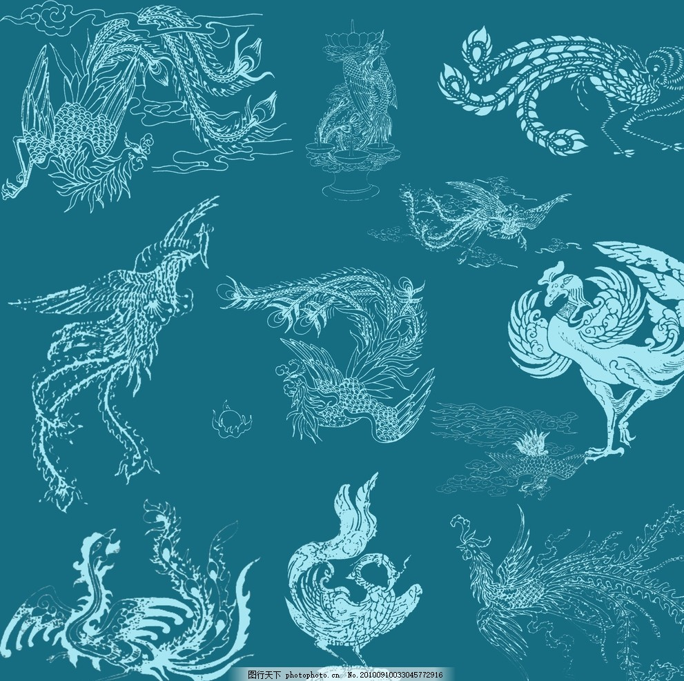 凤凰 分层 国画 白描 古代纹样 图案 重绘 凤凰图形 凤凰图腾