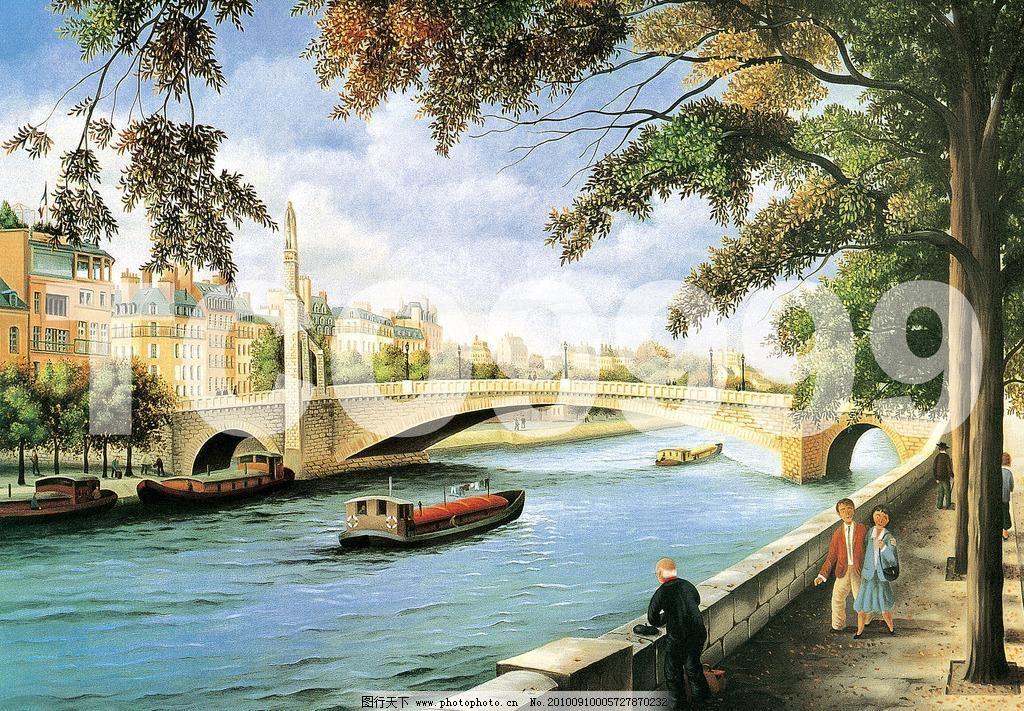 tif 城市风光 船 船只 房子 拱桥 河 绘画书法 江 街道 油画 手绘