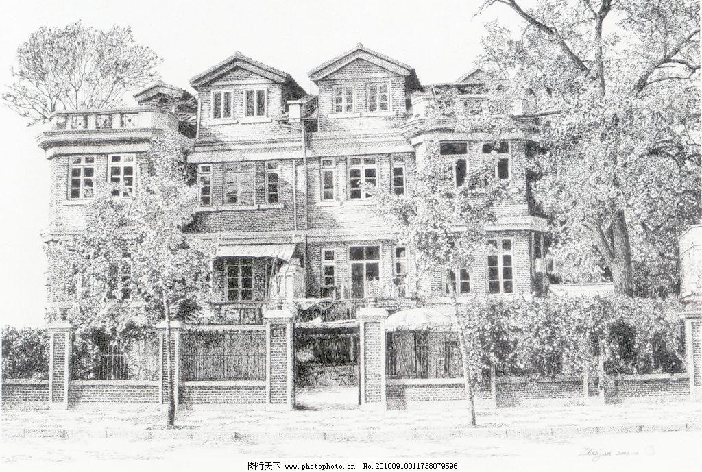 画 线条 风景画 黑白画 线稿 线描 中国画 树 树木 木屋 草屋 房子