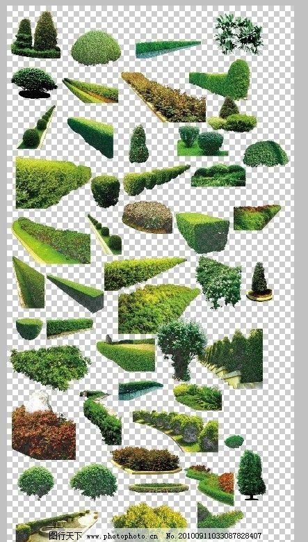 灌木 园林 设计 素材 绿化 树木 乔木 psd 花草 公路绿化 花坛 psd