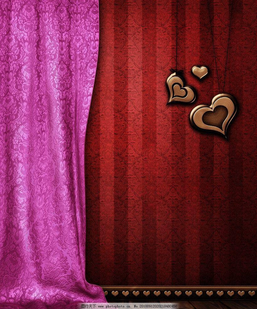 浪漫背景 浪漫 温馨 花纹 木地板 粉红色背景 帘布 欧式花纹 丝绸