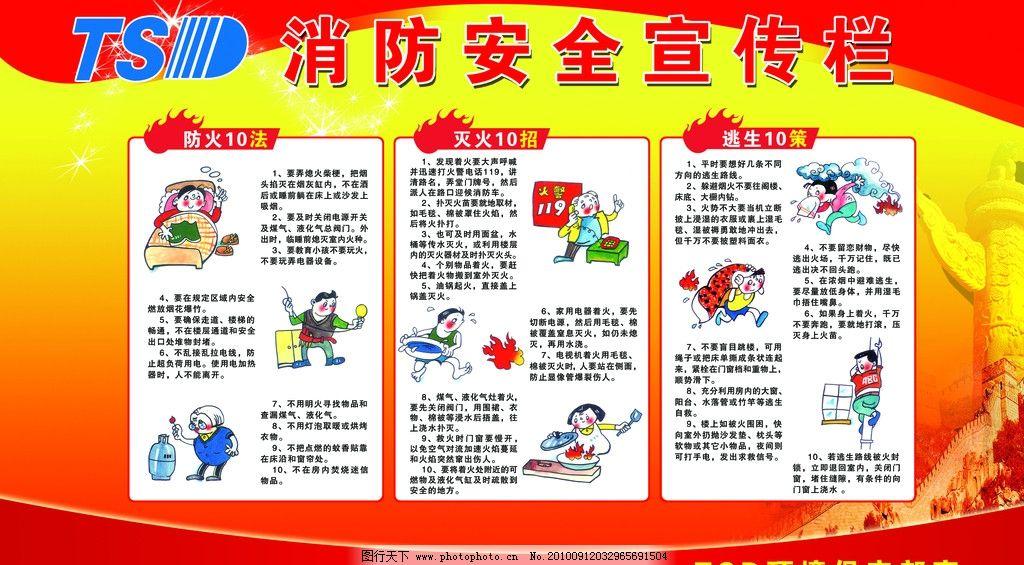 消防安全漫画海报 防火十法 灭火十招 逃生十策 防火卡通图 灭火卡通-