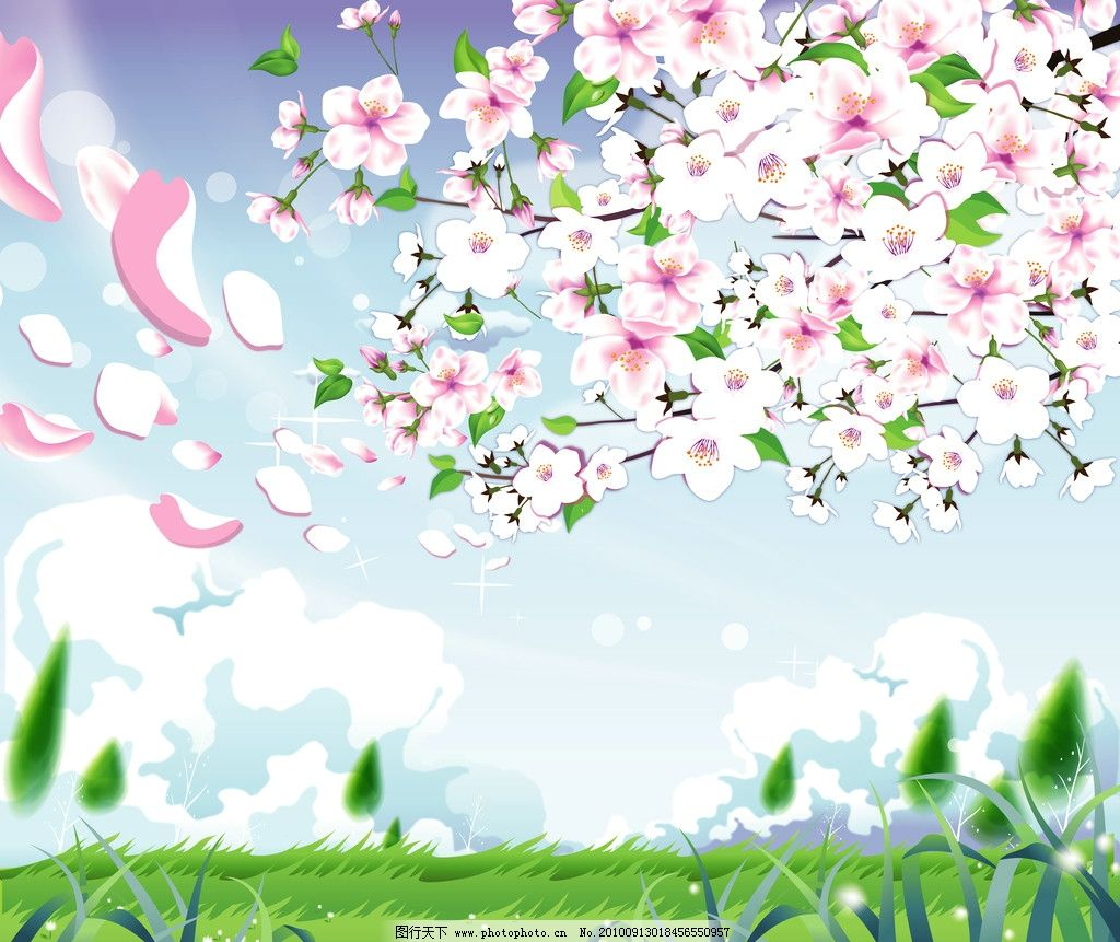 花草 树木 蓝天 白云 绿草 落叶 花瓣 花朵 花卉 桃树 移门图案 背景