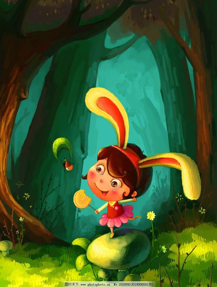 绘画书法  卡通油画 兔兔女孩 油画 装饰画 无框画 手绘卡通画 兔子
