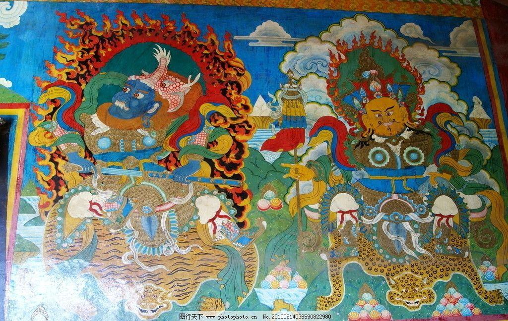 藏族壁画 线描 文化 传统 民族 云南 迪庆 壁画 传统文化 文化艺术 摄