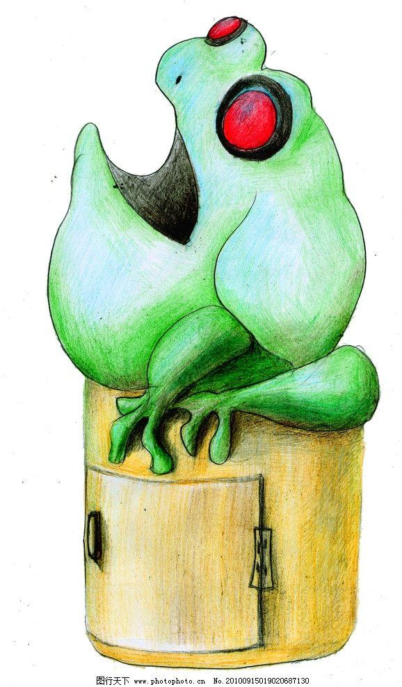 青蛙垃圾箱 彩铅手绘图片
