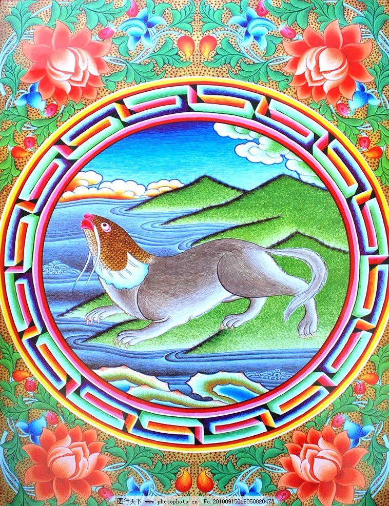 佛教 手绘 墙画 壁画 卧室画 绘画 吉祥 图案 设计 藏族 宗教 和平 平
