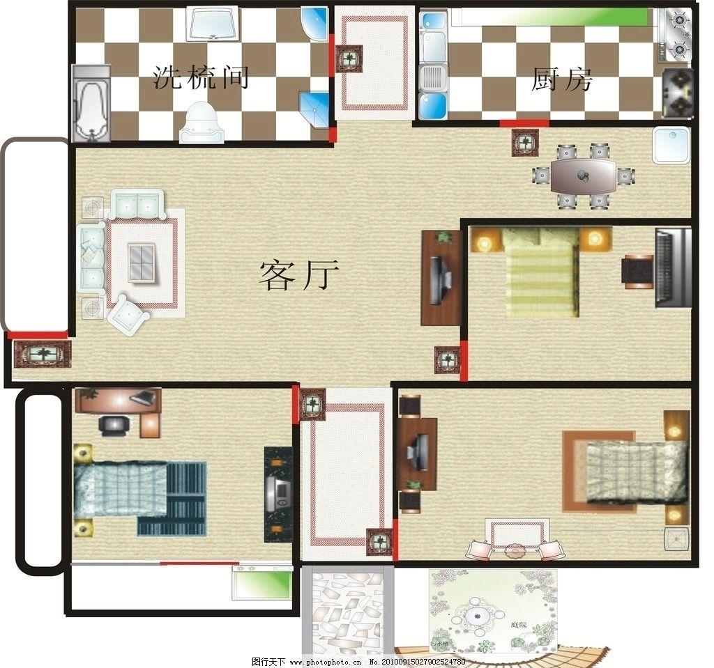室内平面图 浴室 厨房 卧室 客厅 餐厅 阳台 花园 各种家居室内素材