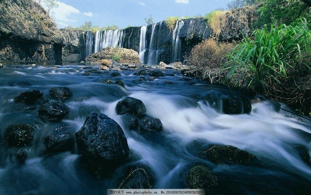 自然风光高清 风景 山谷 水流 瀑布 山水风景 自然景色高清图片