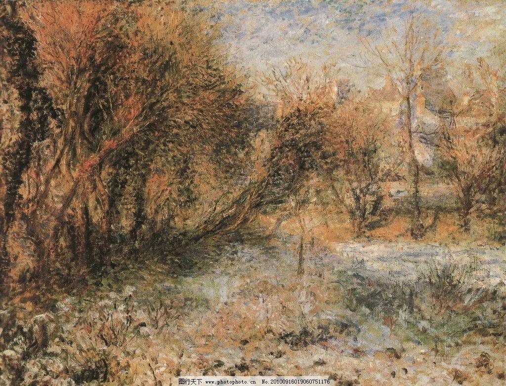 艺术家 景色 西方油画 乡村油画 树 树木 房子 木屋 天空 石头 绘画