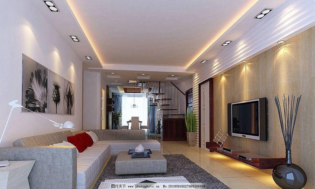 客厅效果图 石膏线 电视背景墙 餐厅 楼梯        室内设计 环境设计
