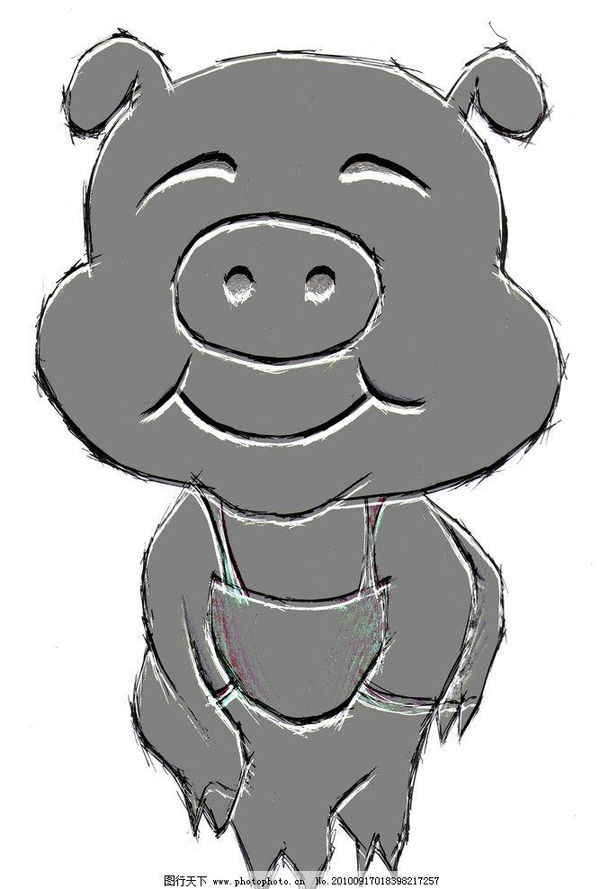 卡通猪浮雕图片