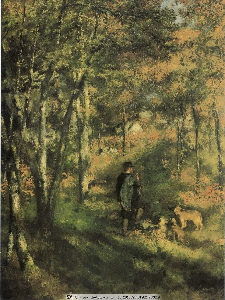家作品 艺术家 景色 西方油画 乡村油画 树 树木 人物 森林 狗 动物
