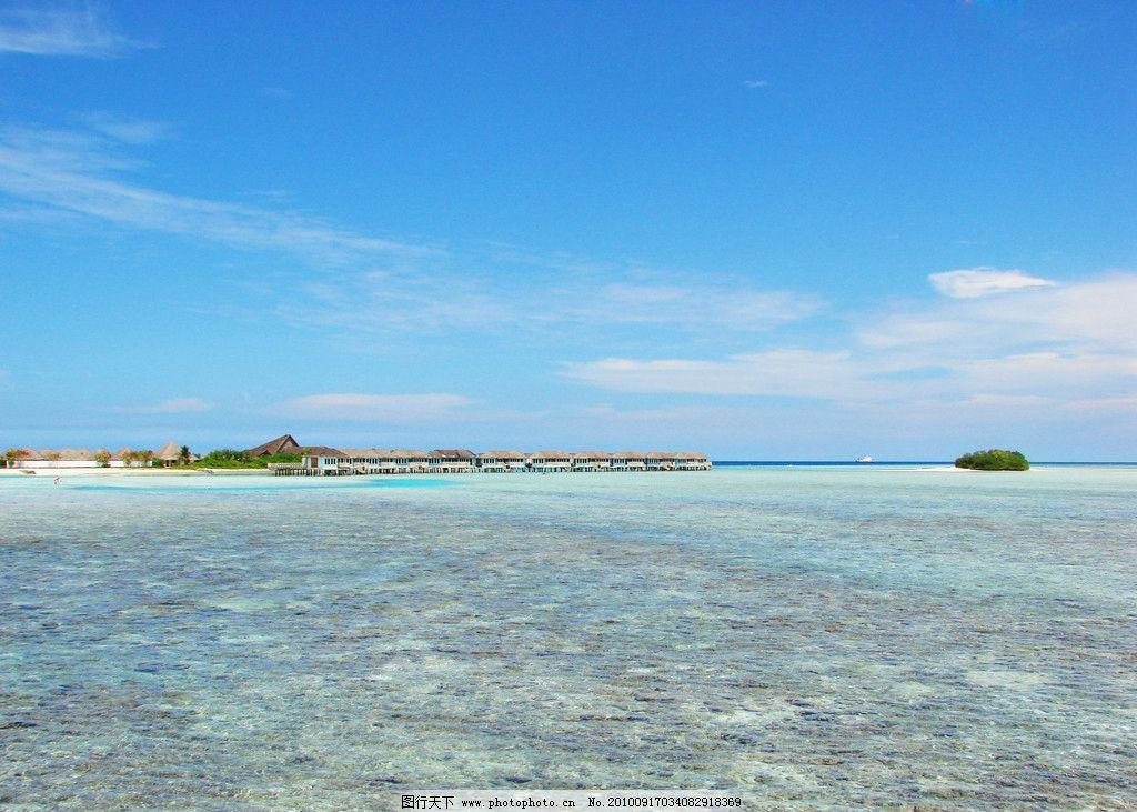 马尔代夫蓝天大海小岛图片