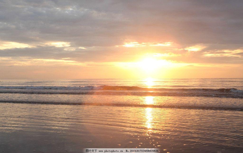 海滩日出 自然景观 风景 天空 云彩 海水 水面倒影 自然风景
