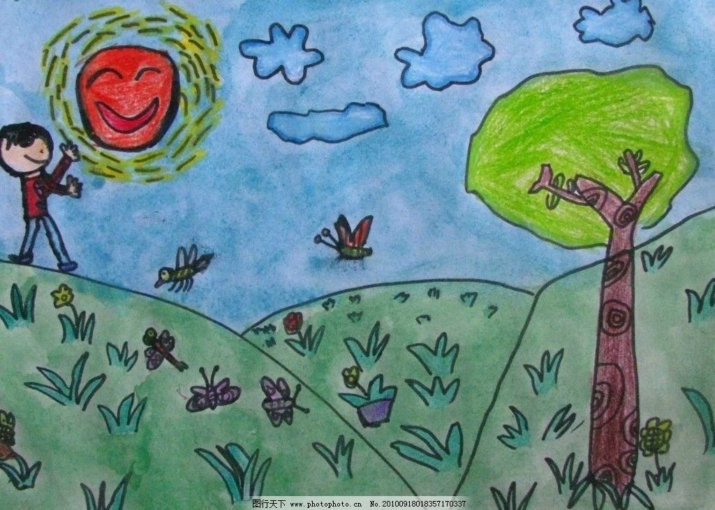 儿童画 水粉画 蜡笔画 太阳 幻想画 色彩 想象 动漫动画 动漫人物