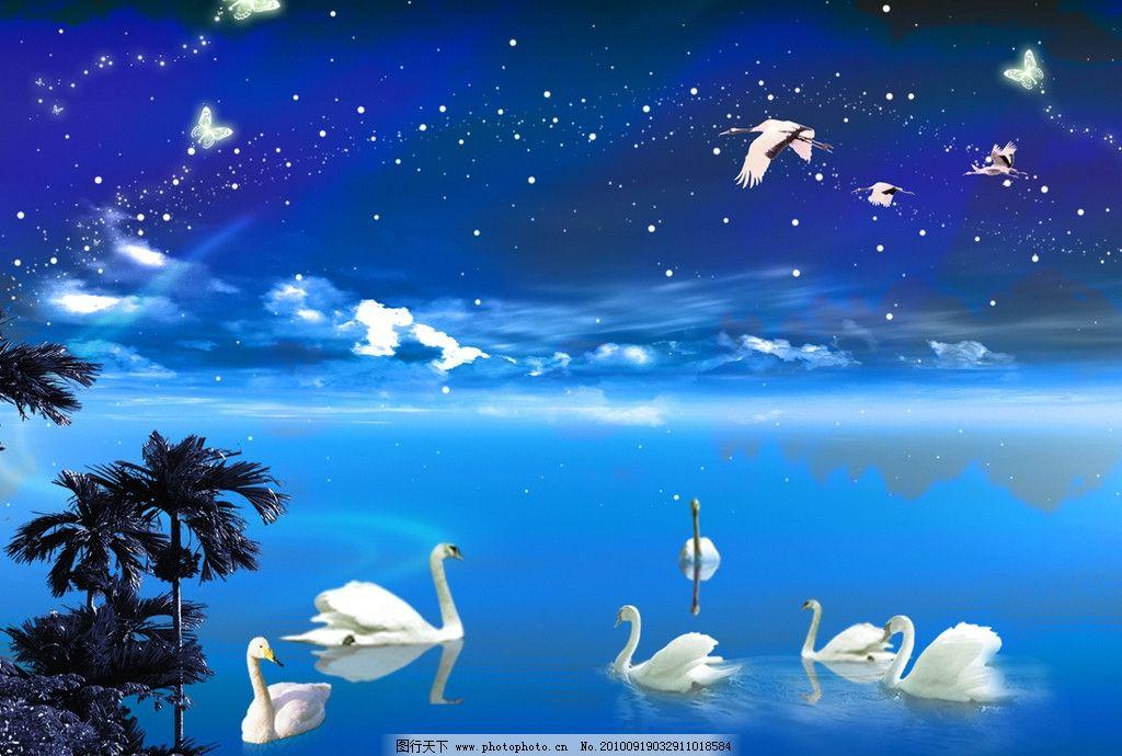 天鹅湖 蓝天 白云 夜晚 星空 山水海岸 源文件 其他