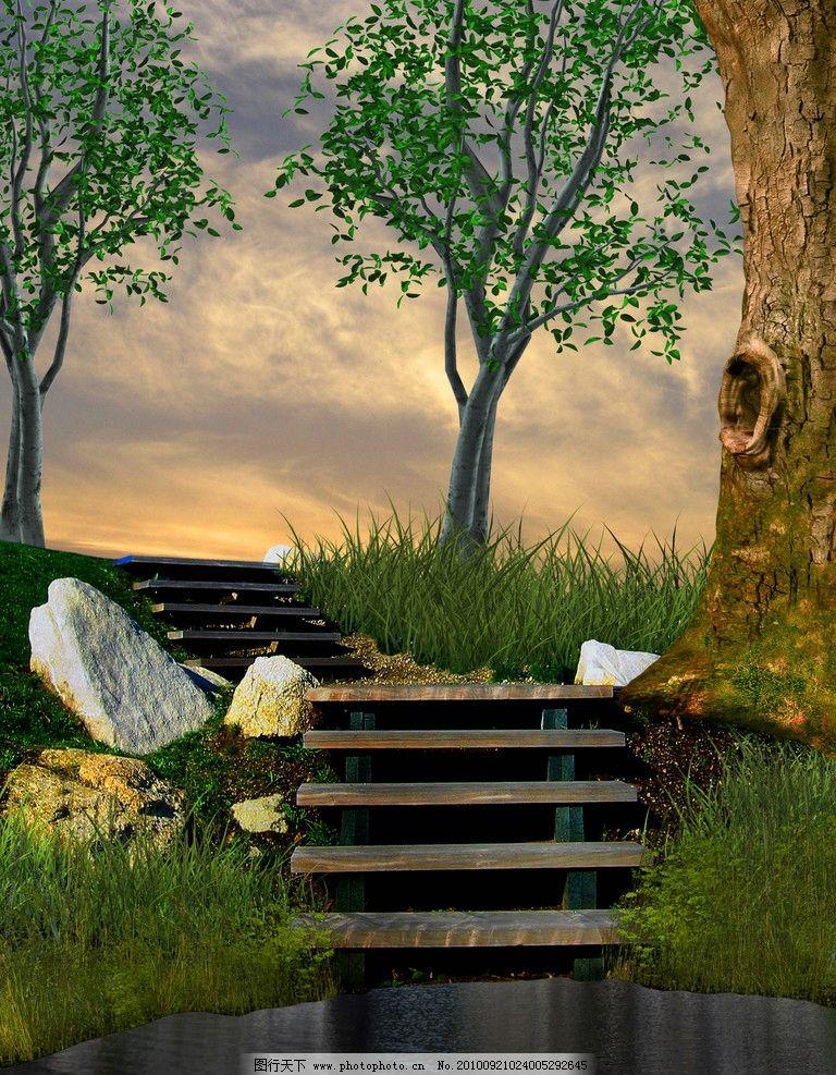 水池边的大树 风光图片设计 设计图片 美丽景色 大树 水池 树木 阶梯图片