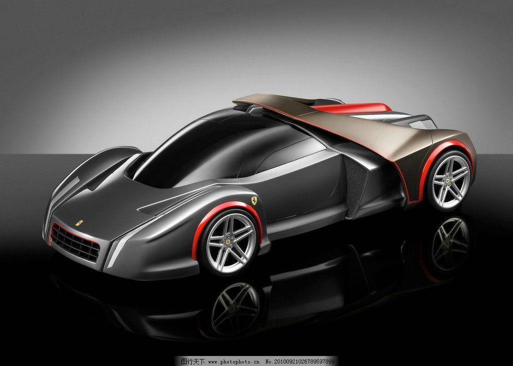 好汽车 法拉利 超酷 流线型 银白 赛车 宽大 绝伦 展示 现代