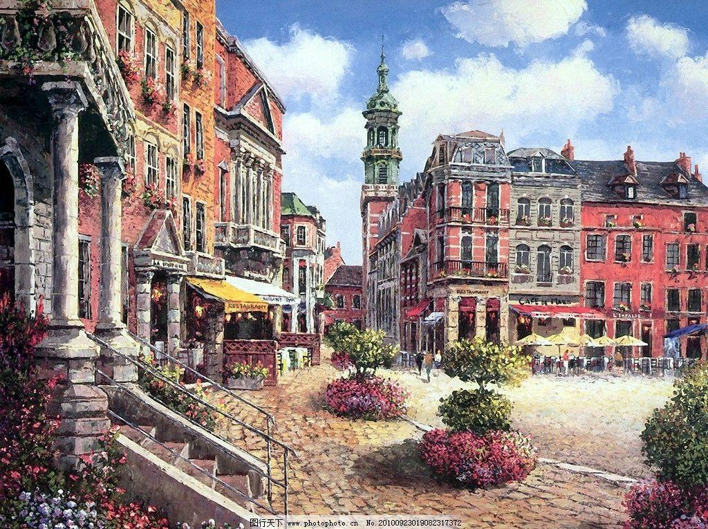 鲜花 当代艺术家作品 艺术家 景色 西方油画 天空 白云 树 树木 绘画图片