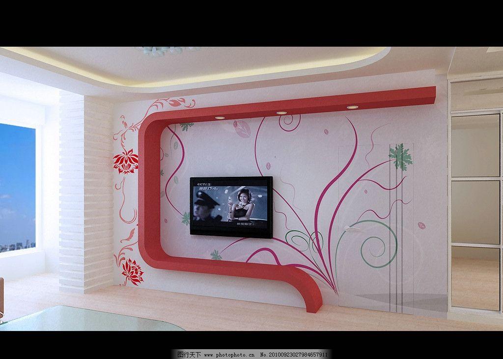 手绘植物类电视背景墙图片