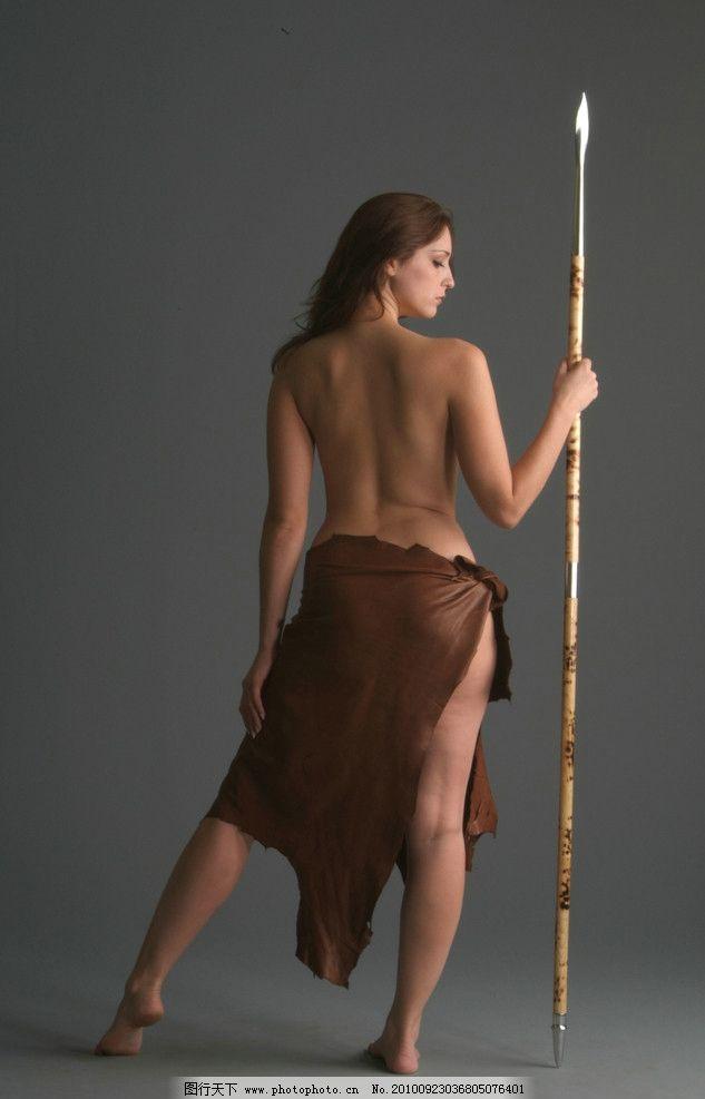 女人 女性 性感 土著 牧民 欧式 野兽 摄影 人体 矛 女性女人 人物
