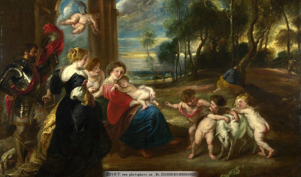 英国 英国油画 雷诺阿 油画作品 文艺复兴油画 大师作品 女人 小孩