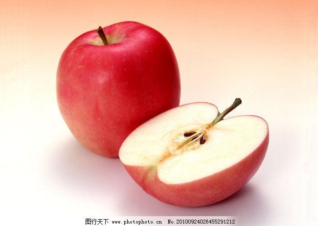 红色苹果 水果 红色苹果免费下载 一半苹果 切开的苹果 图片素材图片