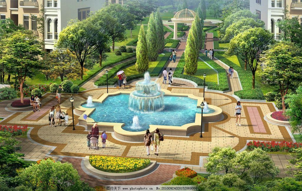 广场效果图 广场 喷泉 园林绿化 水景 景观设计 环境设计 设计 150dpi