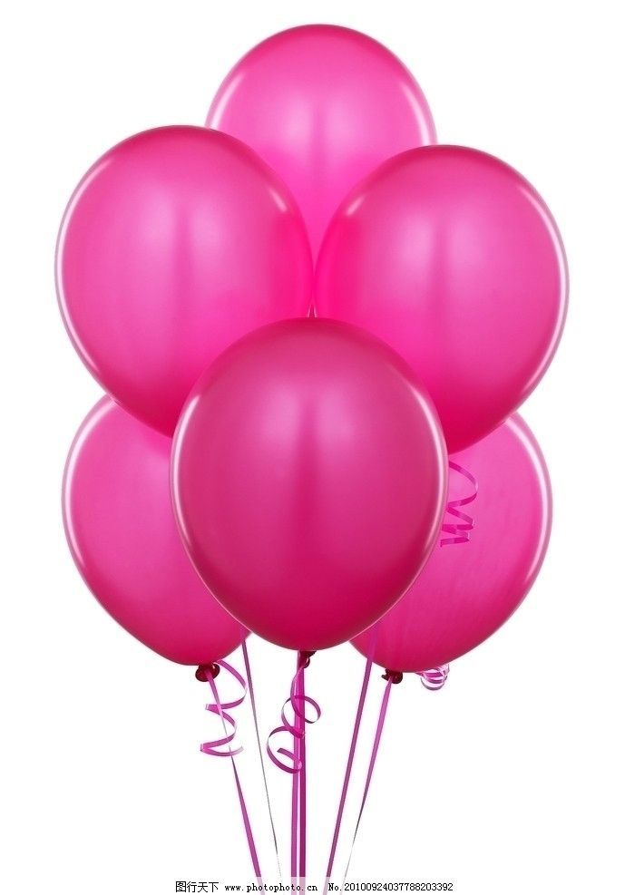 洋红色气球 粉色 气球 大气球 一捆气球 一堆气球 漂亮气球 绸带 洋红